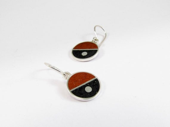 Sterling Silver Earrings, Diagonal, Geometric, Divided Circles, Black and Maroon, Modern, Contemporary