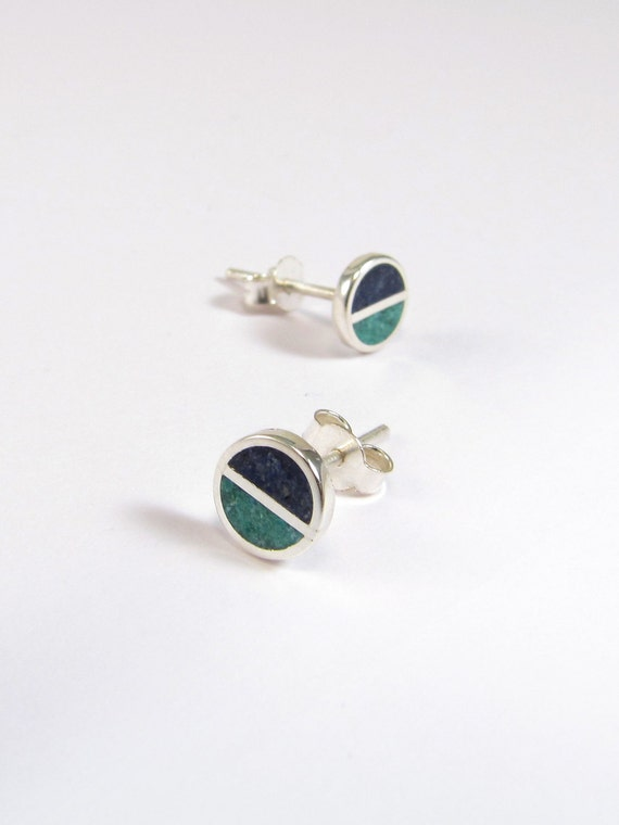 Sterling Silver Earrings, Blue and Turquoise, Divided Circles, Modern, Contemporary