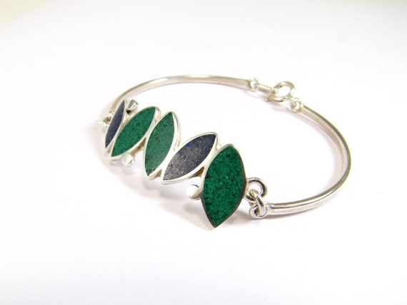 Sterling Silver Bracelet, Small Seeds, Blue, Green, Modern, Contemporary, Color