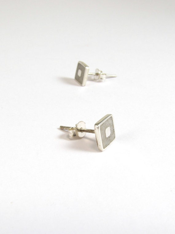 Sterling Silver Earrings, White, Squares, Ear Studs, Modern, Contemporary, Minimal
