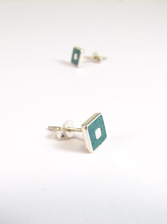 Sterling Silver Earrings, Turquoise, Squares, Modern, Contemporary, Minimal