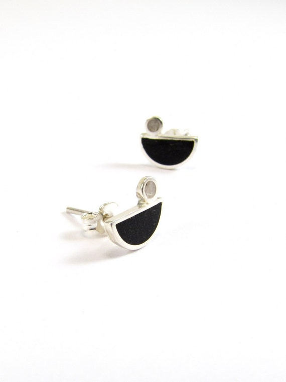 Sterling Silver Earrings, Little Birds, Black and White, Ear Studs, Modern, Contemporary