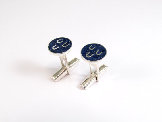 Sterling Silver Cuff Links, Blue, Circle, Navy, Nautical, Waves, Modern, Contemporary
