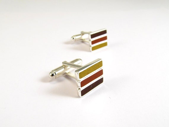 Sterling Silver Cuff Links, Brown, Mustard, Maroon, Modern, Contemporary, Lines
