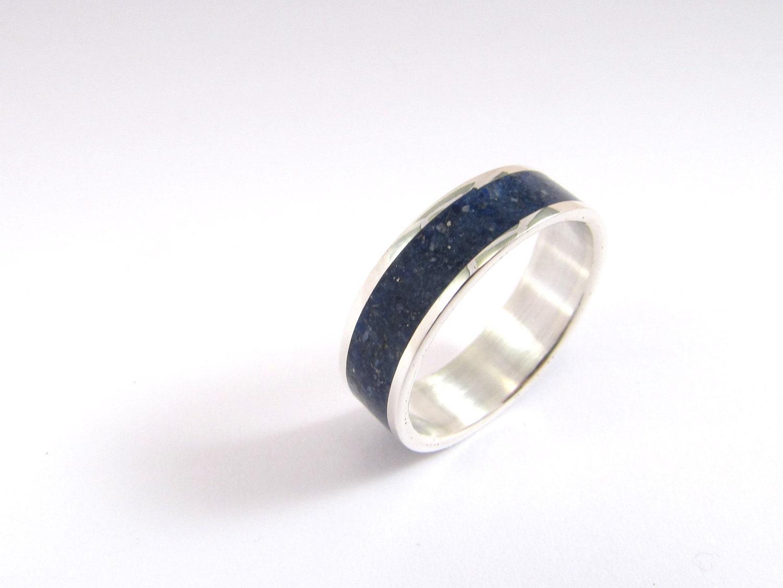 wedding band sterling silver ring blue navy by maldonadojoyas With navy wedding rings