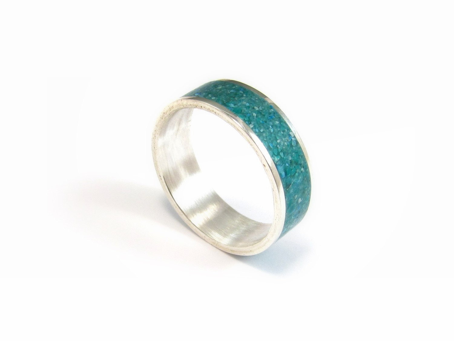 sterling silver ring turquoise wedding band stone inlay