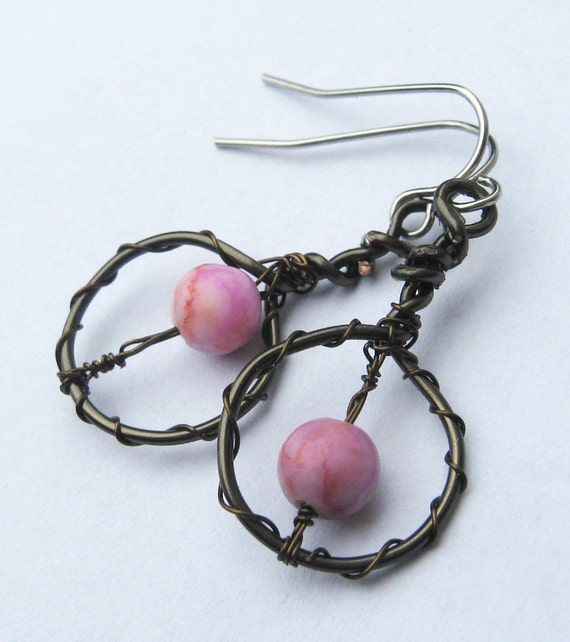 Pink Boho Earrings - Pink Matrix Jasper with Gunmetal and Antique brass