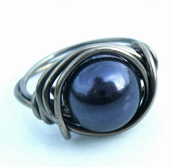 Blue Pearl Ring, Swarovski Crystal Wire Wrapped In Gunmetal