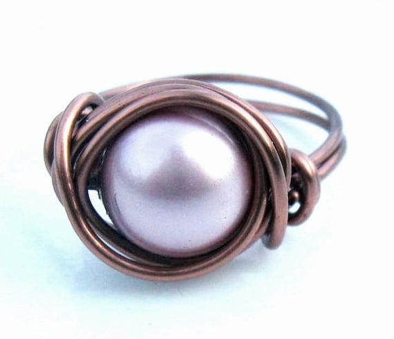 Powder Pink Swarovski Pearl Cocktail Ring Antique Copper Ring