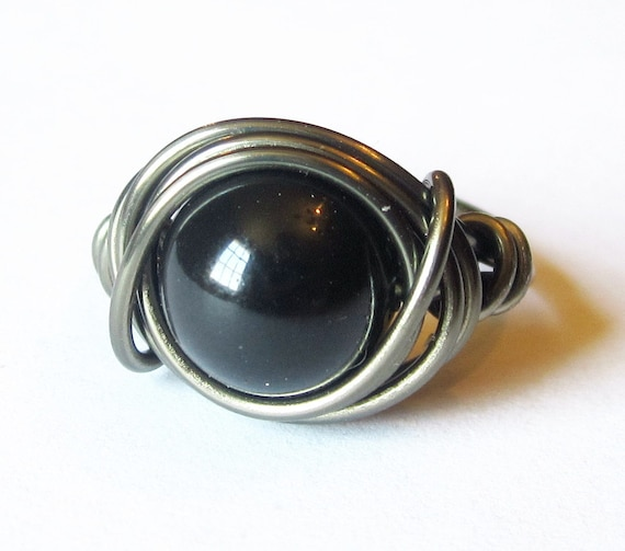 Black Pearl Ring Swarovski Crystal Pearl Wire Wrapped in Gunmetal Half Off Sale