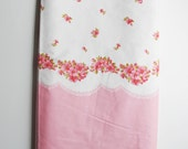 Vintage Pink and White Rosebud Floral Scalloped Fabric Cotton Blend 2.36 yards