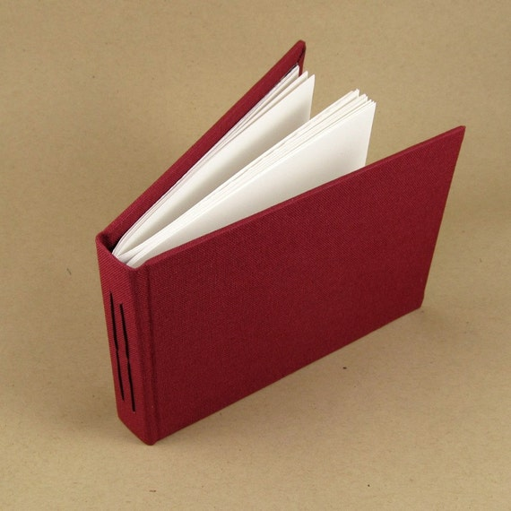 Maroon Cloth and Marbled Paper Small Journal - Hardcover - Autograph Album