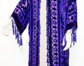Purple Dream Kimono Opera Coat Silk Burnout Velvet One size