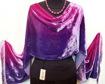 Hand Dyed Silk Velvet Shawl Scarf Signed By Maya Purples & Pinks