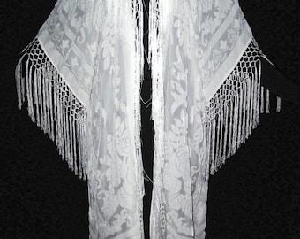 Ivory Fringe Burnout Velvet Jacket Kimono Opera Coat Silk One size