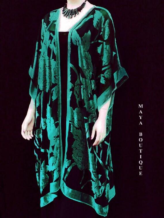 Silk Burnout Velvet Jacket Kimono Duster Teal & Black No Fringe Maya Matazaro