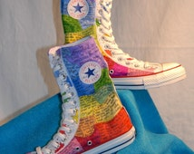 Custom Hand Painted Converse - Made to Order - Rainbow Designs