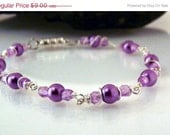 60 % off  BIG SALE Lacy purple silver Wire wrapped bead bracelet TheBeadtriss   Ready to Ship OOAK