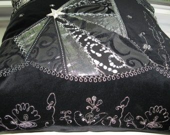 Crazy Quilt Black and Silver Pillow Cover,   Shining Fabrics with Black Velvet , 18x18 inches.