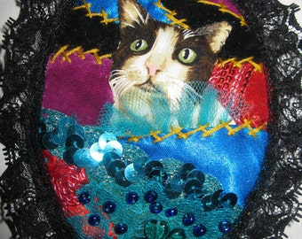 Crazy Quilt Brooch or Wallhanging Lovely Fabric Cat Portrait.Blue, Red, Black Handmade Medallion