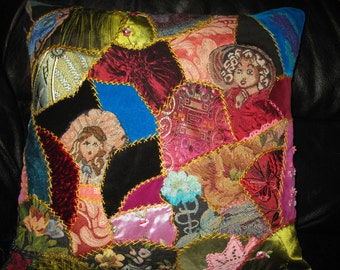 Embroidered crazy quilt Pillow cover.Unique Velvet Fiber Art Cushion  Victorian style. 18x18 inches