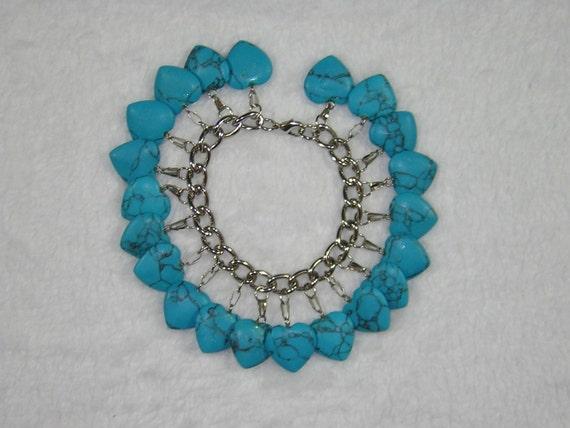Turquoise Heart Charm Bracelet - Handmade by Rewondered D225B-00008 - $36.95