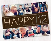 simple happy 12 / photo / holiday / new years / card / printable