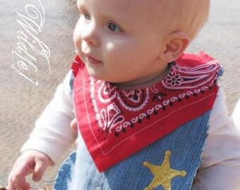 Western Cowboy Bib Baby Recycled Jeans Sheriff Deputy - Red Bandana