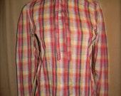 60s Plaid Button Up Blouse
