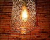 Repurposed Chicken Wire Swag Light