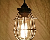 Upcycled Industrial Pendant Light, Vintage Cage Light - REDUCED