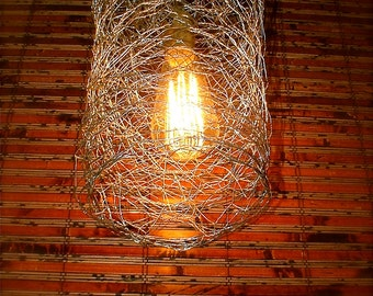 Repurposed Chicken Wire Swag Light