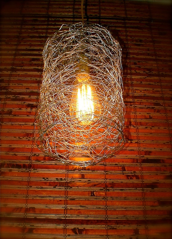 Repurposed Chicken Wire Swag Light by OhGloryVintage on Etsy