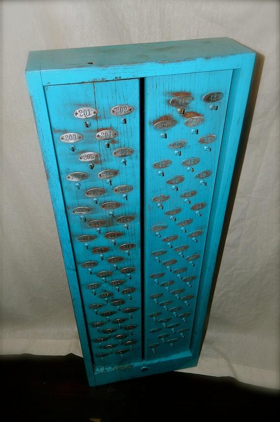 Repurposed Cabinet, Key Rack, Jewelry Storage, Key Holder, Blue, Vintage Industrial
