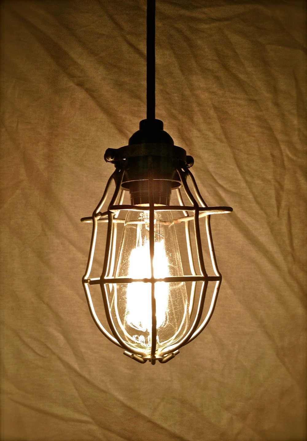 Upcycled Industrial Pendant Light Vintage Cage Light