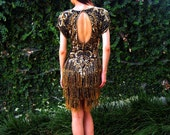 Stunning Early 90s Backless Gold and Black Beaded Silk Dress -- Extra Small