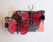 Handmade Set of 2- Deep Red Feather Butterflies Hair Clips - Alligator Clips Set