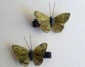 Handmade Light Green Painted Feather Butterflies Hair Clips  - Set of 2