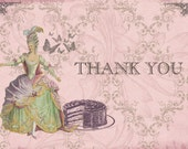 Marie Antoinette Pearlized Thank You Cards for weddings or that special someone - Bundle of 10