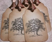 Oak Tree wish tree tags gift tags treat tags - vintage appearance - set of 5