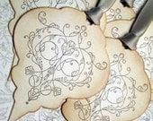 Wedding Wish Tree Tags/Mehndi Ornament/Gift Tags/Treat Tags -Vintage Appearance -  Set of 5