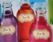 Alice in Wonderland - Drink Me/Eat Me Adhesive Labels/Tags -Vintage Appearance - Set of 10