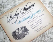 Baby Shower Invitation - Birds Nest with vintage appearance- set of 20