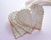 Mini Gift Tags/jewellery box tags- Shabby Chic Flourish Scalloped Hearts - set of 5