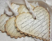 Vintage Shabby Chic Tags - French Script Scalloped Heart Tags - Vintage Appearance - set of 5