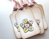 Valentine Tags - Gift/Favor Tags - Sweetheart candy tags - Vintage Appearance - set of 5