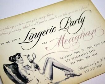 Vintage Bachelorette Party invitations/Lingerie Party invitations/Bridal Shower invitations with cream envelopes -  set of 10