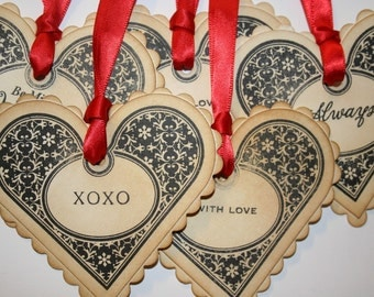 Valentine Heart Tags - Vintage Appearance - choose between 5 sentiments - set of 5