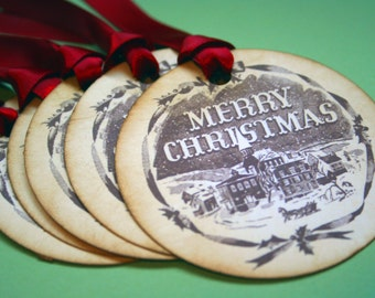 Vintage Merry Christmas Ornament/Wish Tags - Vintage Appearance - set of 5