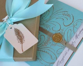 Boxed Luxury Wedding Invitation - Marie Antoinette inspired -Regal -  SAMPLE